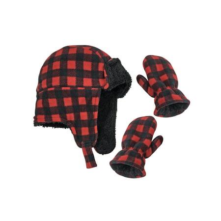 NICE CAPS Little Boys and Infants Buffalo Plaid Fleece Trooper Hat and Mitten Set (Buffalo Bills Hats Red)