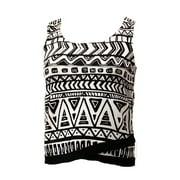 INC NEW Black White Women's Medium M Ribbed Tribal Print Crop Knit Top $69 #100