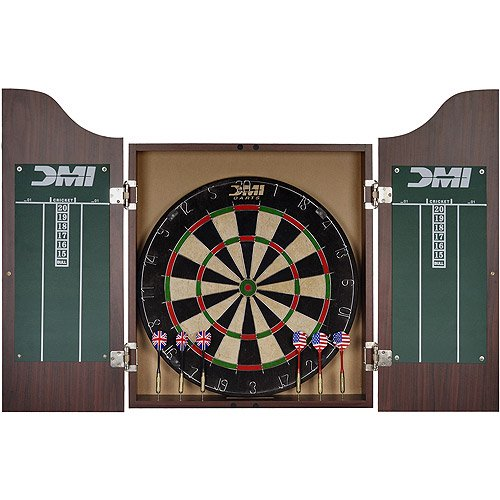DMI Sports Deluxe Bristle Board Dartboard Cabinet Set