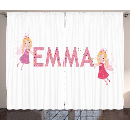 Polka Dots Girls Bedroom (Emma Curtains 2 Panels Set, Cute Fairy Princesses Holding a Popular Widespread Girl Name with Polka Dots Pattern, Window Drapes for Living Room Bedroom, 108W X 90L Inches, Multicolor, by Ambesonne )