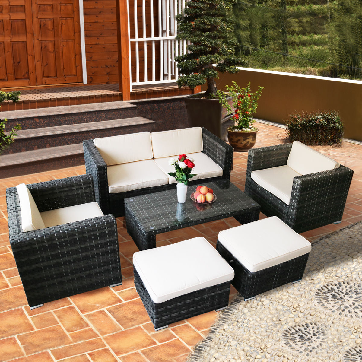 Costway 6 PCS Outdoor Rattan Wicker Sofa Sectional Furniture Set Patio Garden Backyard by Costway