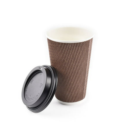 (85 pcs) 16 oz Disposable Double Walled Hot Cups with Lids - No Sleeves needed Premium Insulated Ripple Wall Hot Coffee Tea Chocolate Drinks Perfect Travel To Go Paper Cup and lid Brown Geometric