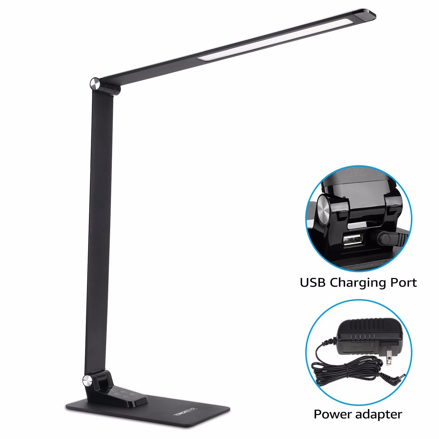 TorchStar Metal LED Desk Lamp, 6 Dimming Levels & 5 Lighting Modes, Ultra Slim Modern Style Table Lamp, Timer & Memory Function, Touch Sensitive Control, USB Charging Port