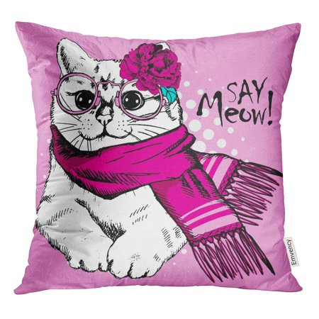 STOAG Affable White Cat Pink Scarf and Glasses of Dressed Throw Pillowcase Cushion Case Cover 16x16 inch ()