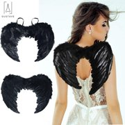 """GustaveDesign Angel Wings for Kids Adult Fallen Angel Feather Wing Costume for Halloween Christmas Party """"Black, 17.7inch x 13.7inch"""""""