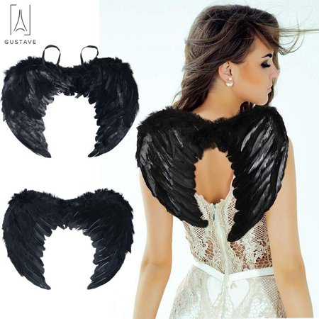 Kid Costume For Adults (GustaveDesign Angel Wings for Kids Adult Fallen Angel Feather Wing Costume for Halloween Christmas Party