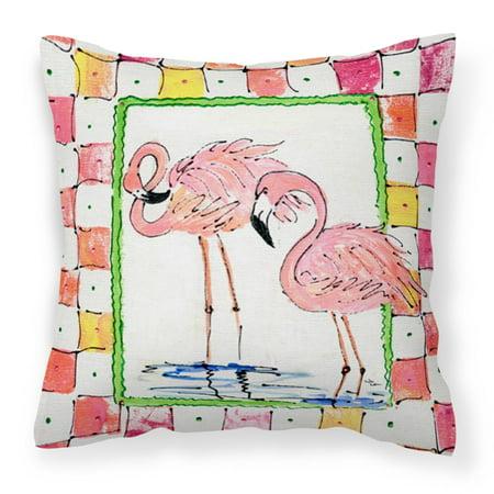 Carolines Treasures Flamingo Bird Decorative Outdoor Pillow Square