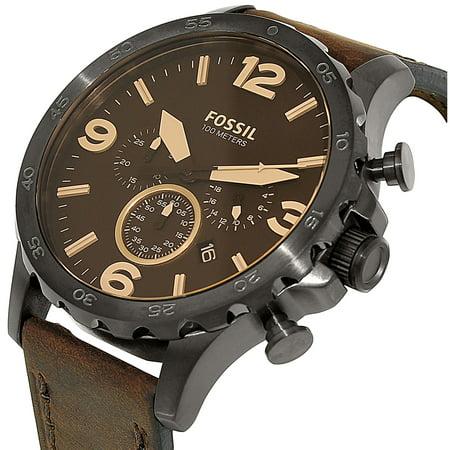 ffc34b916 Fossil Men's Nate JR1487 Brown Leather Quartz Fashion Watch - image 1 ...