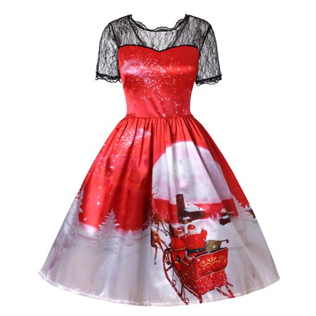 Mosunx Christmas Women Short Sleeve Lace Patchwork Printing Vintage Gown  Party Dress 6ac0ada43bdf