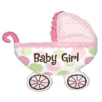 """Custom, Fun & Cool {XL Huge Giant Size 31"""" Inches - 4.1 Feet} 1 Unit of Helium & Air Inflatable Mylar Aluminum Foil Balloons w/ Its A Girl Baby Carriage Design [in Pink, White, Green & Black]"""
