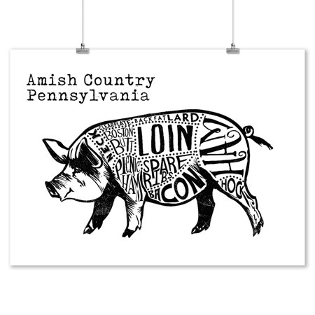 Amish Country, Pennsylvania - Butchers Block Meat Cuts - Black Pig on White - Lantern Press Artwork (9x12 Art Print, Wall Decor Travel - Black & White Pig