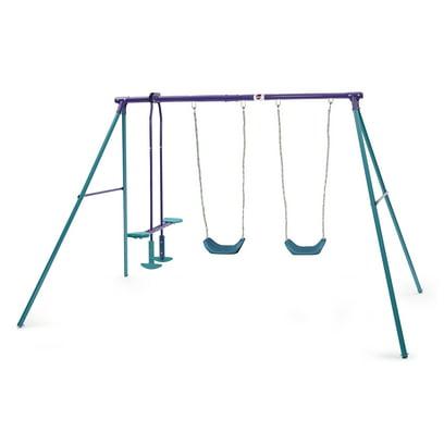 Plum Jupiter Double Swing and Glider Metal Swing Set