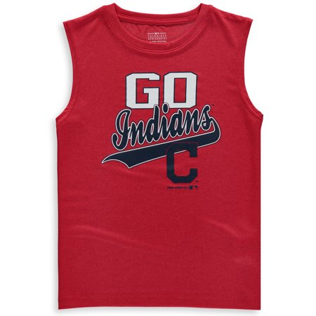 - MLB Cleveland INDIANS TEE Sleeveless Boys Fashion Jersey Tee 100% Polyester Quick Dry Alternate Color Team Tee 4-18
