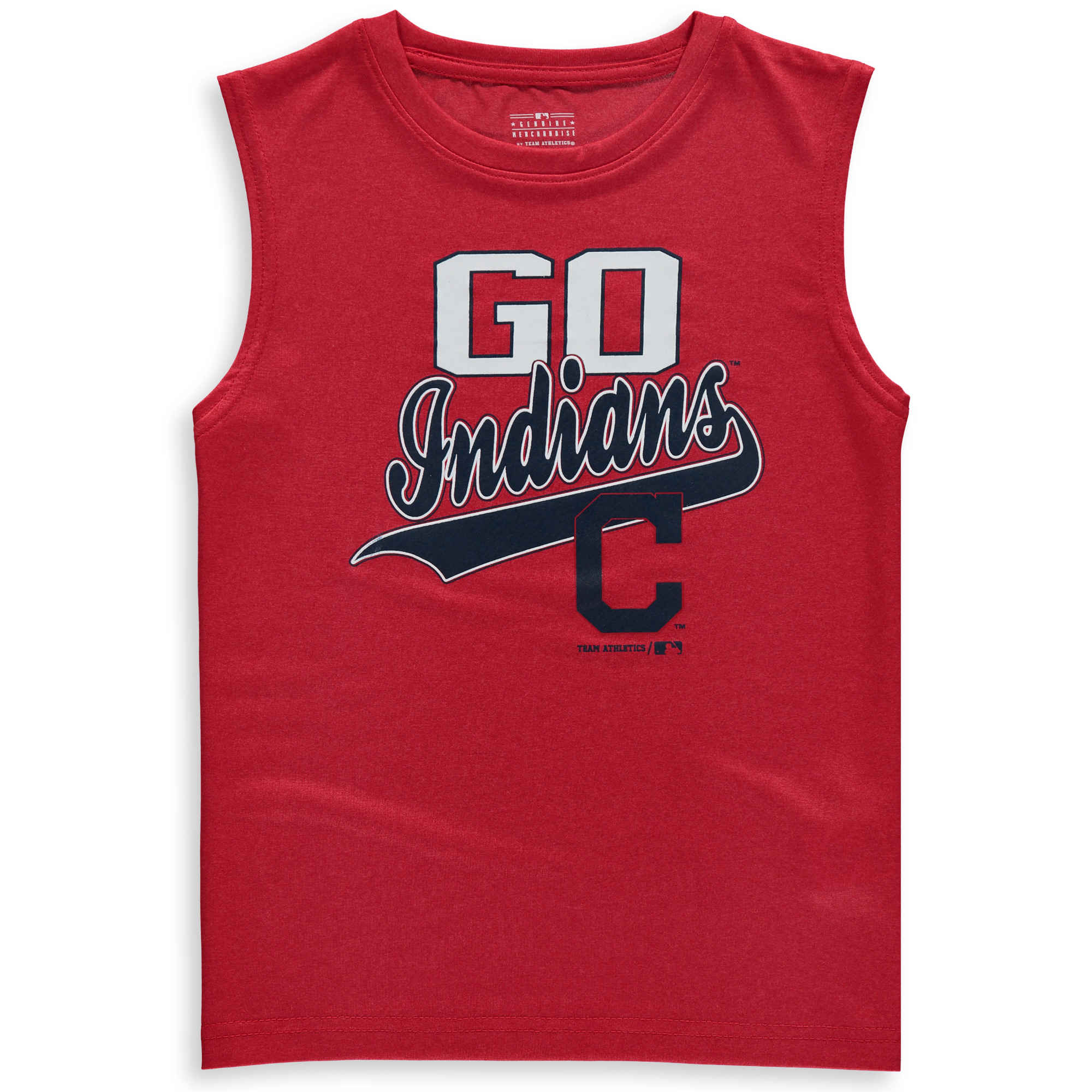 MLB Cleveland INDIANS TEE Sleeveless Boys Fashion Jersey Tee 100% Polyester Quick Dry Alternate Color Team Tee 4-18