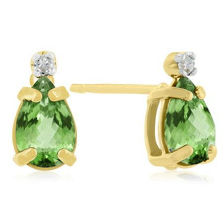 1 1/4ct Pear Peridot and Diamond Earrings in 14k Yellow Gold