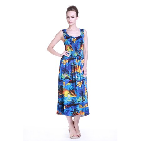 Women\'s Hawaiian Maxi Tank Elastic Luau Plus Size Dress Sunset Blue