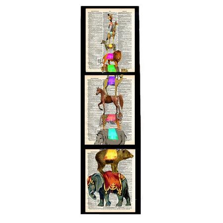Art N Wordz Animal Stack 3 Piece Triplicate Original Dictionary Sheet Pop Art Wall or Desk Art Poster Triptych Prints