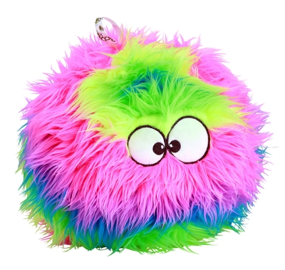 goDog® Furballz™ with Chew Guard Technology™ Plush Squeaker Dog Toy, Small, Rainbow