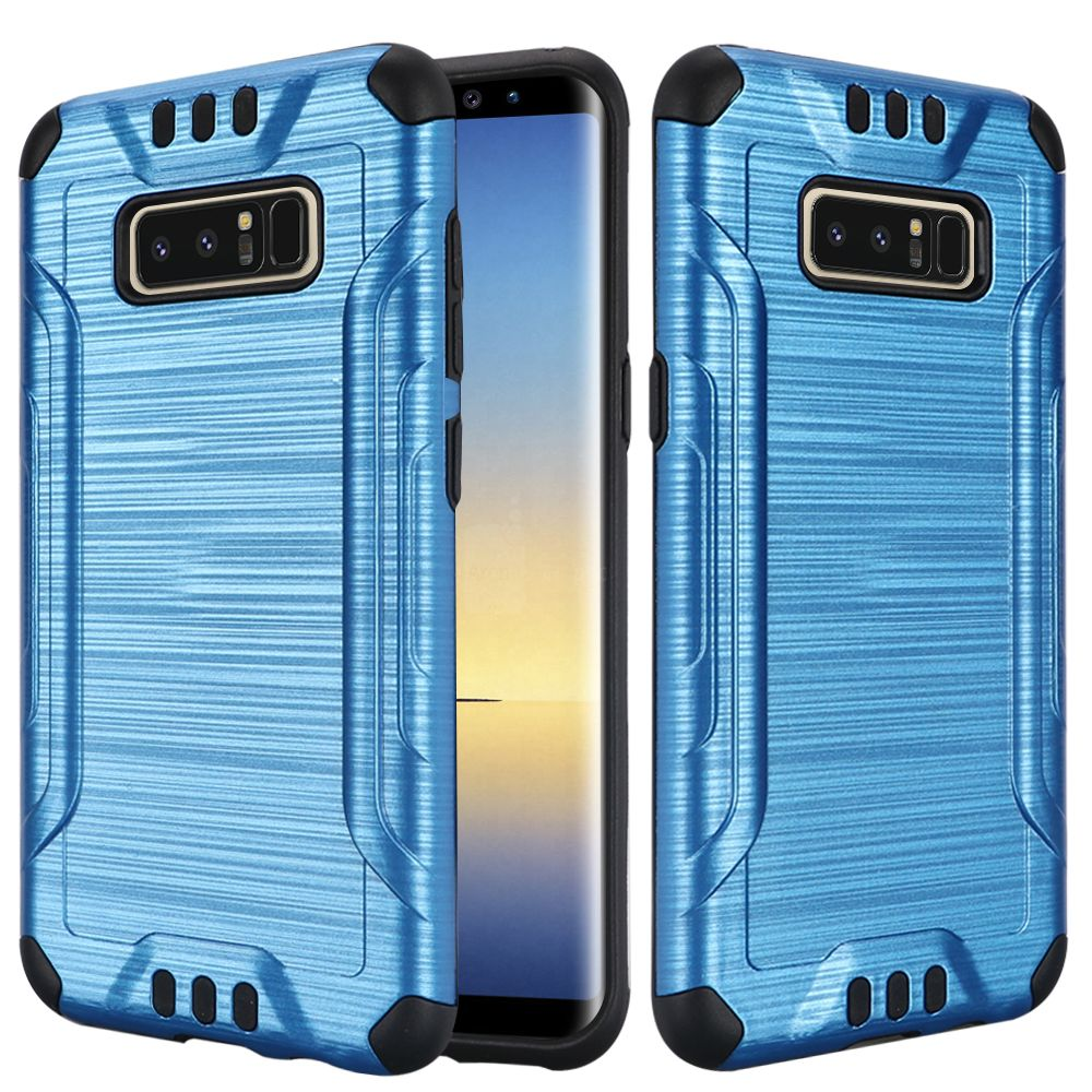 Kaleidio Case For Samsung Galaxy Note 8 [Combat Armor] Protective Brushed Metallic [Shockproof] Impact Hybrid Cover w/ Overbrawn Prying Tool [Blue/Black]