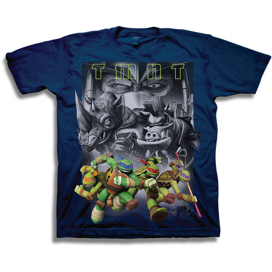 TMNT 3D Heroes and Villians Boys' Juvy Short Sleeve Graphic Tee T-Shirt
