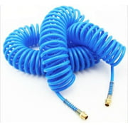 "1/4"" x 50 Foot Blue Recoil Coiled Pneumatic Re-Coil Coil Air Compressor Hose"