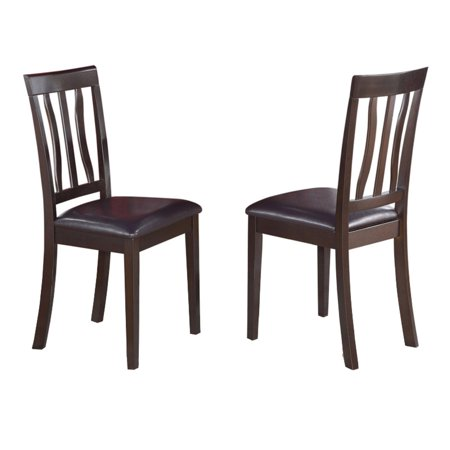 East West Furniture Antique Dining Chair with Faux Leather Seat - Set of 2 ()
