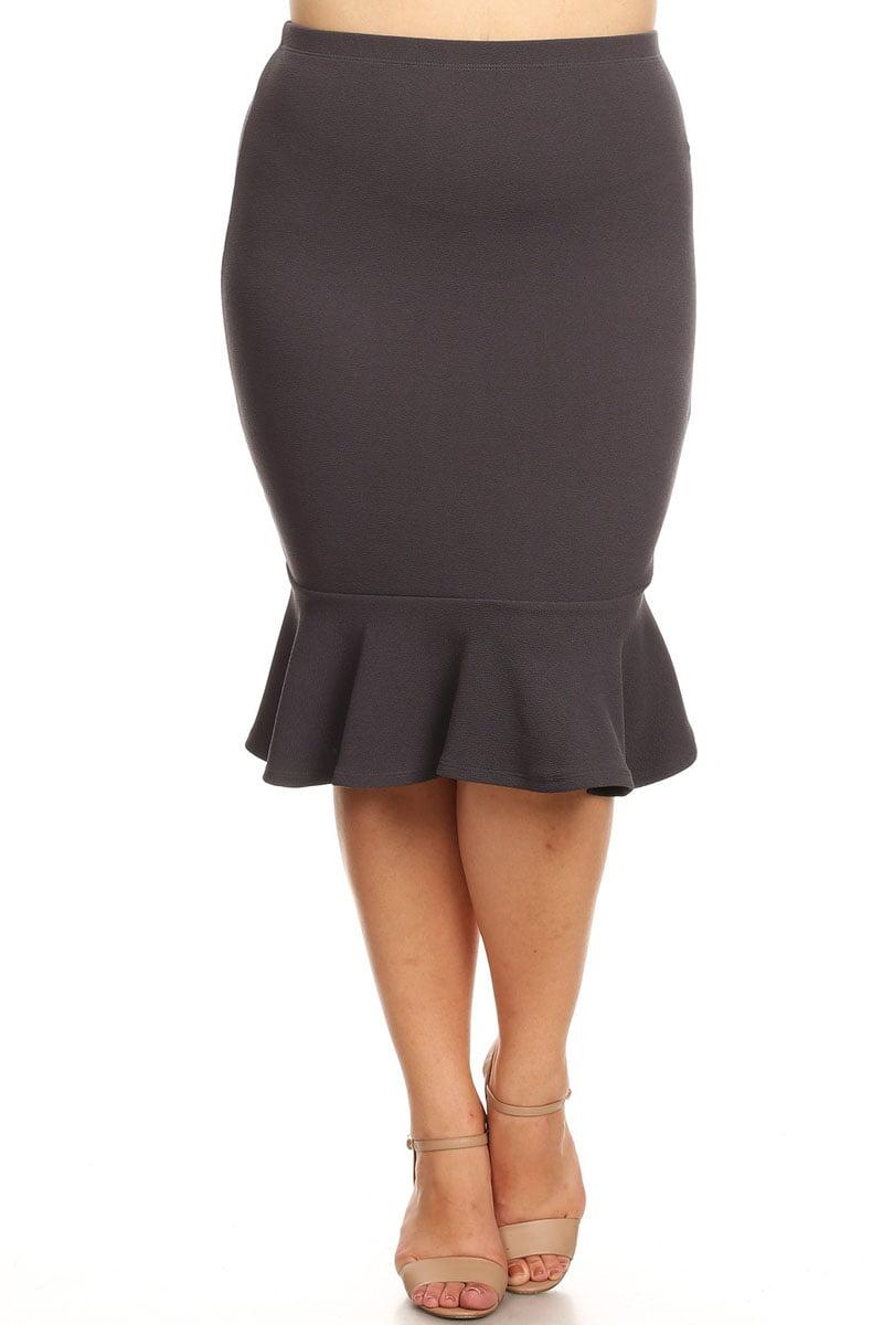 Plus Size Women's Trendy Style Knee Length Ruffle Hem Solid Skirt