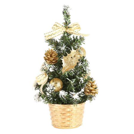 AkoaDa Christmas Decoration Mini Artificial Christmas Tree with Gold Bows Best Choice Christmas Decoration for Table and Desk Tops ()