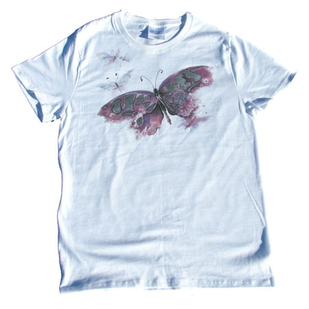 Color Change Shirt (Solar Butterfly Color Changing on White Ladies T-Shirt)