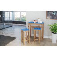 "3-Piece Stillwell 31.5"" Bar Kitchen Set  in Blue and Natural Wood"