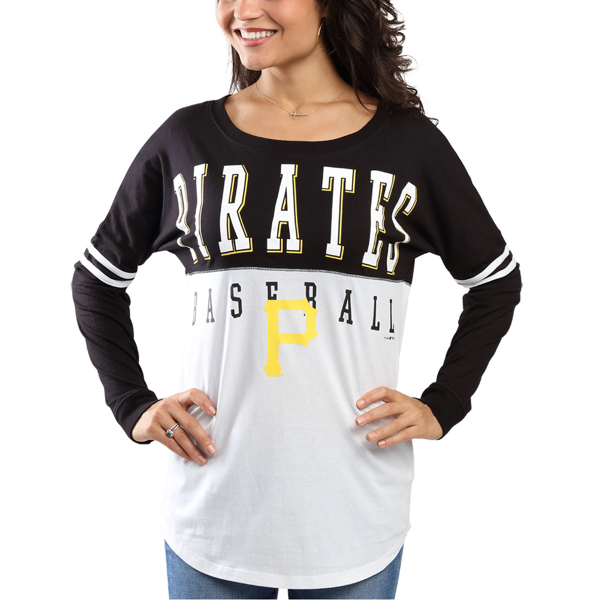 Pittsburgh Pirates 5th & Ocean by New Era Women's Long Sleeve Baby Jersey Varsity T-Shirt - Black