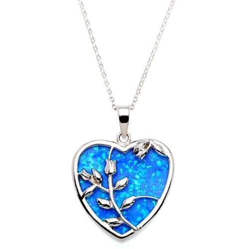 La Preciosa Sterling Silver Created Blue Opal Rose in Heart Pendant by Overstock