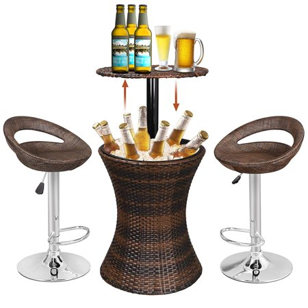 Awesome Zeny Outdoor Rattan Wicker Bar Table Included Cooler 2 Hydraulic Lift Pub Open Back Barstools Rattan Style Adjustable Height Patio Party Deck Pool Inzonedesignstudio Interior Chair Design Inzonedesignstudiocom