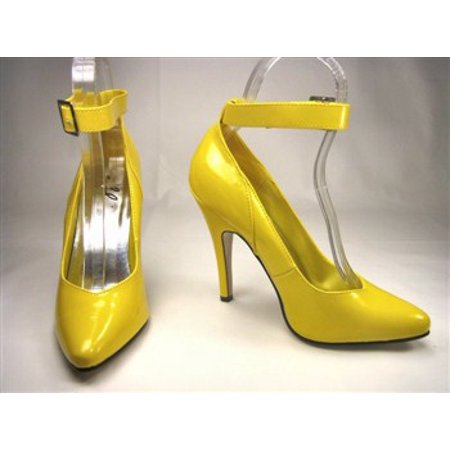 Ellie Shoes E-8221 5 Heel Pump With Ankle Strap 7 / Yellow