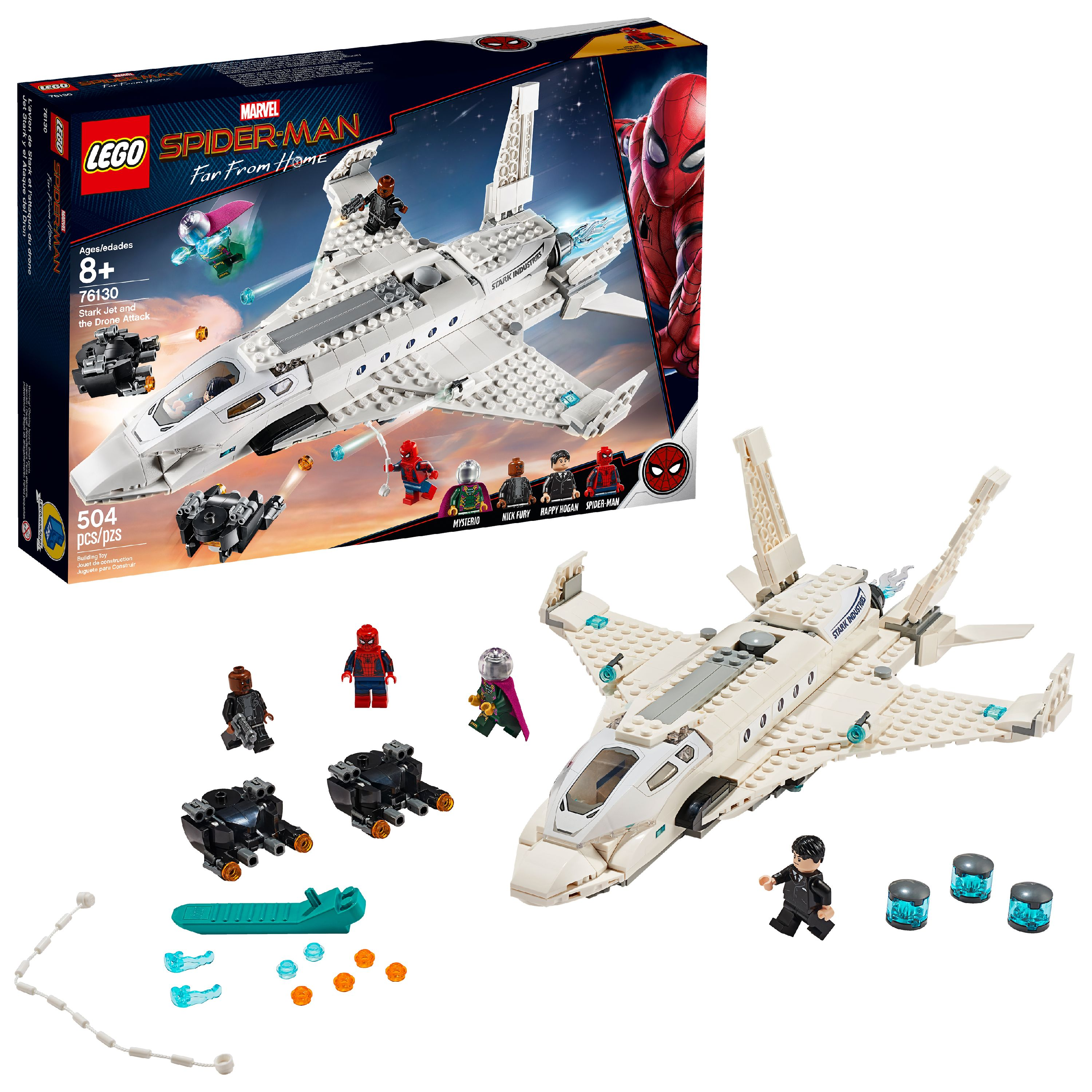 LEGO Marvel Spider-Man Far From Home: Stark Jet and the Drone Attack Superhero Set 76130