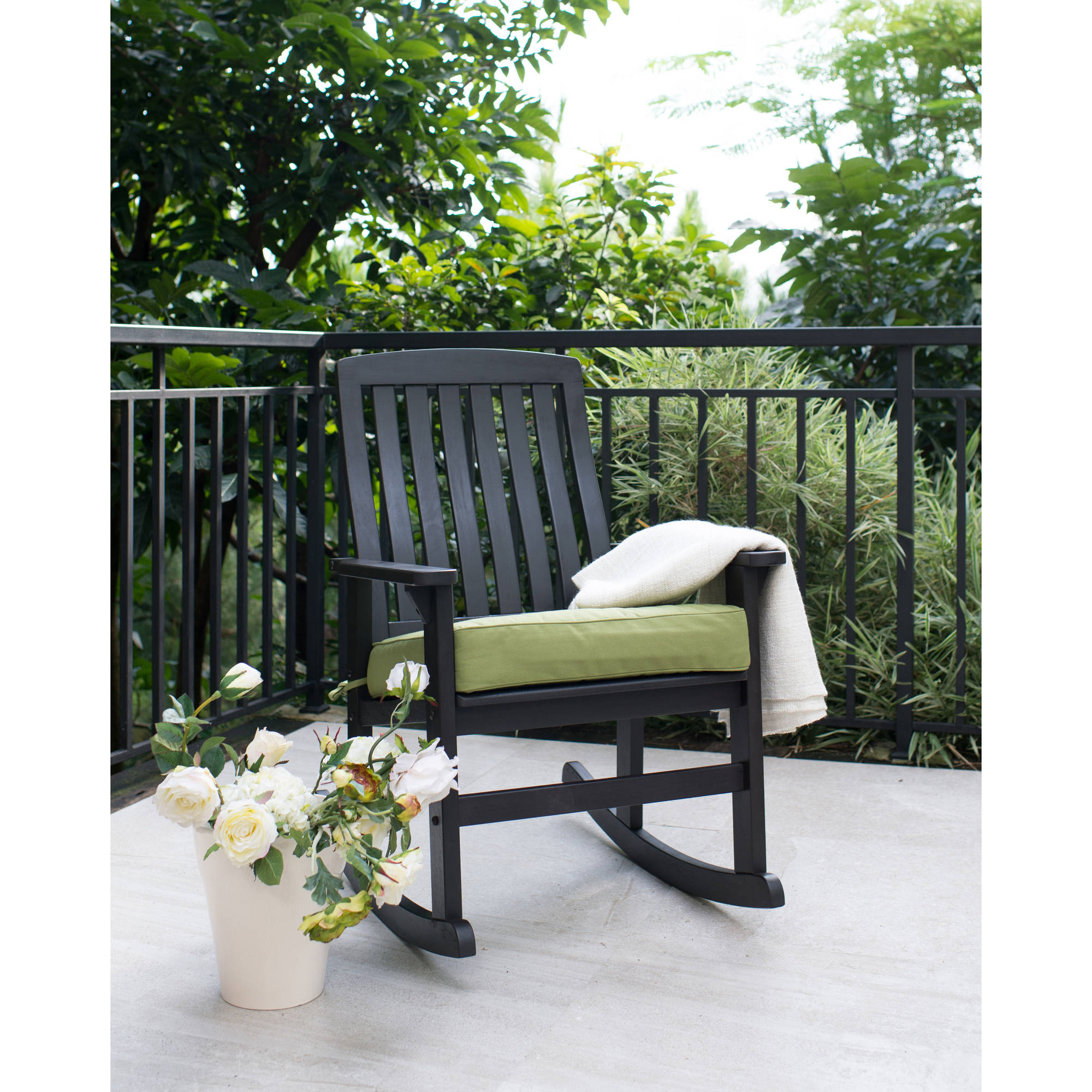 Better Homes & Gardens Delahey Wood Porch Rocking Chair, Black