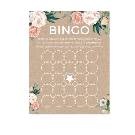 Peach Coral Kraft Brown Rustic Floral Garden Party Wedding, Bridal Shower Bingo Game Cards, 20-Pack