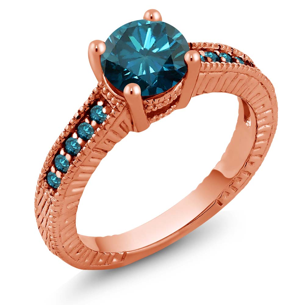 1.52 Ct Round Blue SI1/SI2 Diamond 18K Rose Gold Engagement Ring