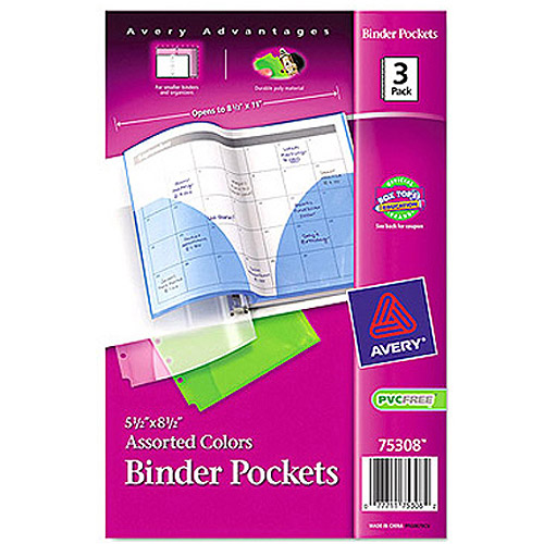 "Avery Fold-Out Binder Pockets, 5-1/2"" x 8-1/2"", Assorted, 3pk"