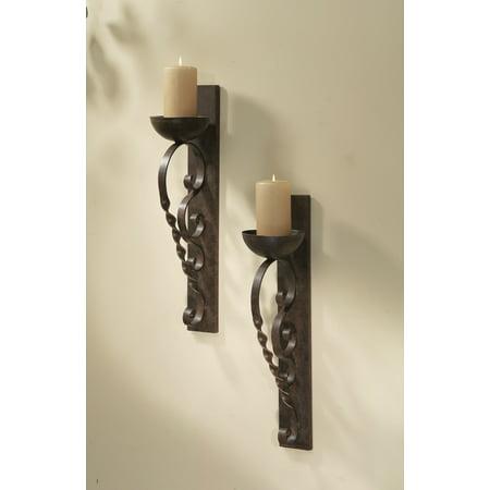 Twisted Pair Balanced (Set of 2 Metallic Brown Twisted Pillar Wall Sconce Pair Wall Sconce)