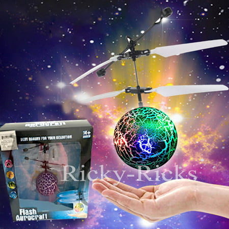 Hand Flying UFO Helicopter Ball LED Hovering Saucer Infrared Sensor Floating Self Airplane Air Juguete (Color may vary) - Helicopter Crystal Set