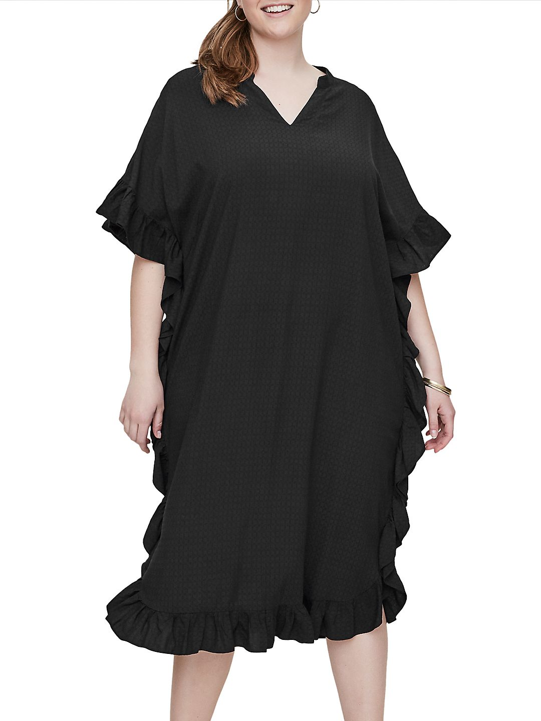 Plus Palmira Short-Sleeve Below-Knee Dress