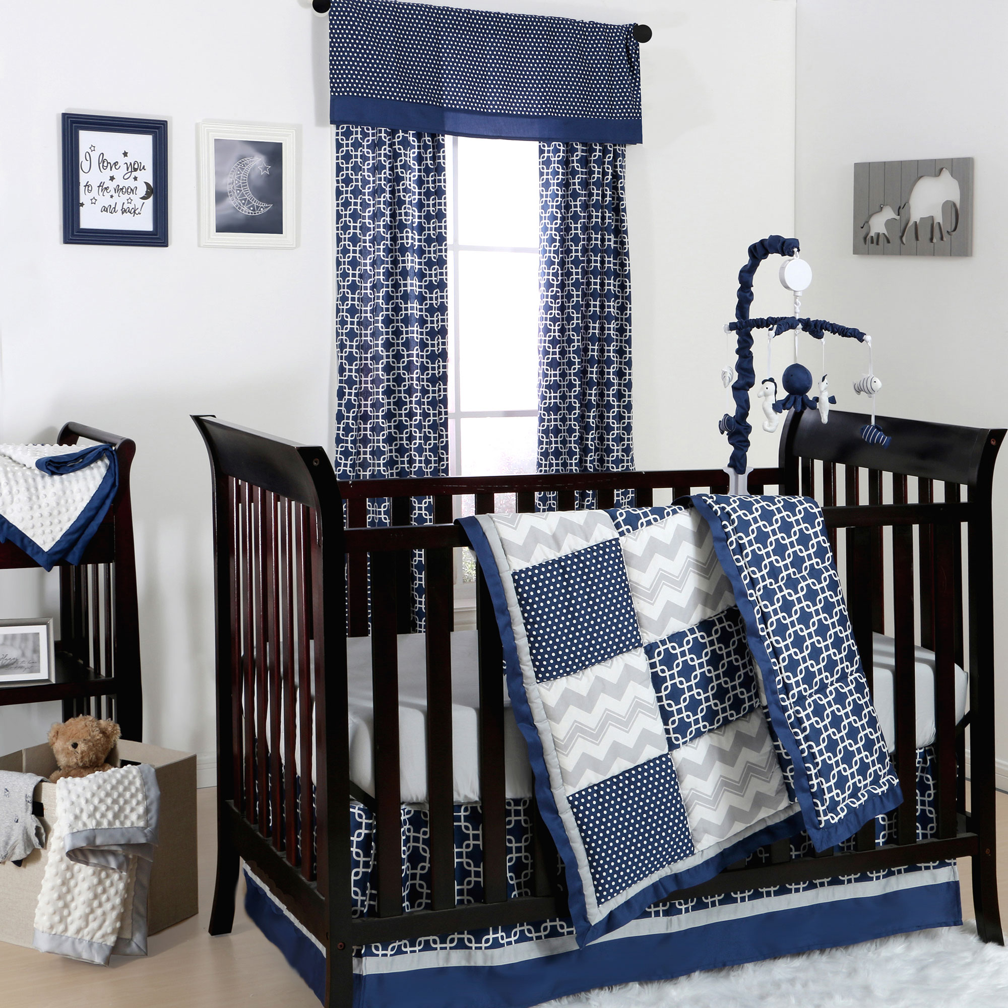 The Peanut Shell 4 Piece Baby Boy Crib Bedding Set - Navy Blue Geometric and Grey Zig Zag Patchwork - 100% Cotton Quilt, Dust Ruffle, Fitted Sheet, and Mobile