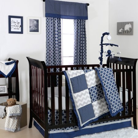 The Peanut Shell 3 Piece Baby Crib Bedding Set Navy Blue And Grey Geometric Patchwork