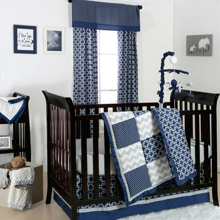 The Peanut Shell 4 Piece Baby Boy Crib Bedding Set Navy