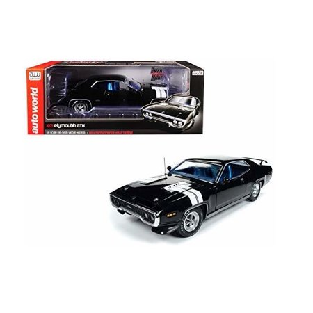 AUTO WORLD 1:18 AMERICAN MUSCLE - 1971 PLYMOUTH GTX (FORMAL BLACK) AMM1133