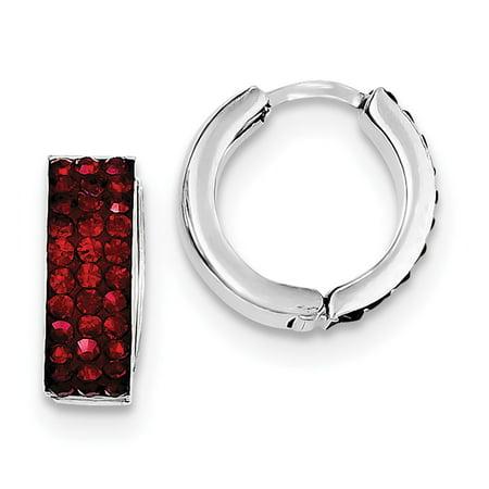 Crystal Hinge - 925 Sterling Silver Red Preciosa Crystal Small Hinged Hoop Earrings (15mm x 15mm)