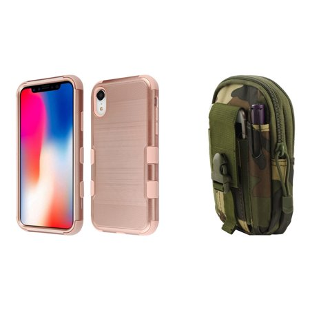 super popular 98a4d 036e5 TUFF Case Bundle Compatible with Apple iPhone XR - Military Grade Brushed  Case (Rose Gold) with Tactical Utility Pack (Jungle Camo) and Atom Cloth  for ...