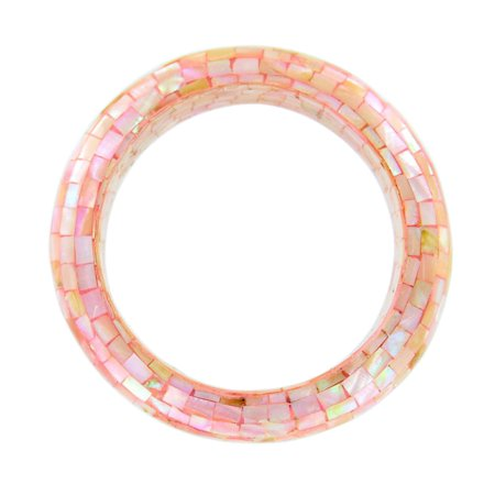 Chunky Natural Pink Mother of Pearl Mosaic Bangle Bracelet