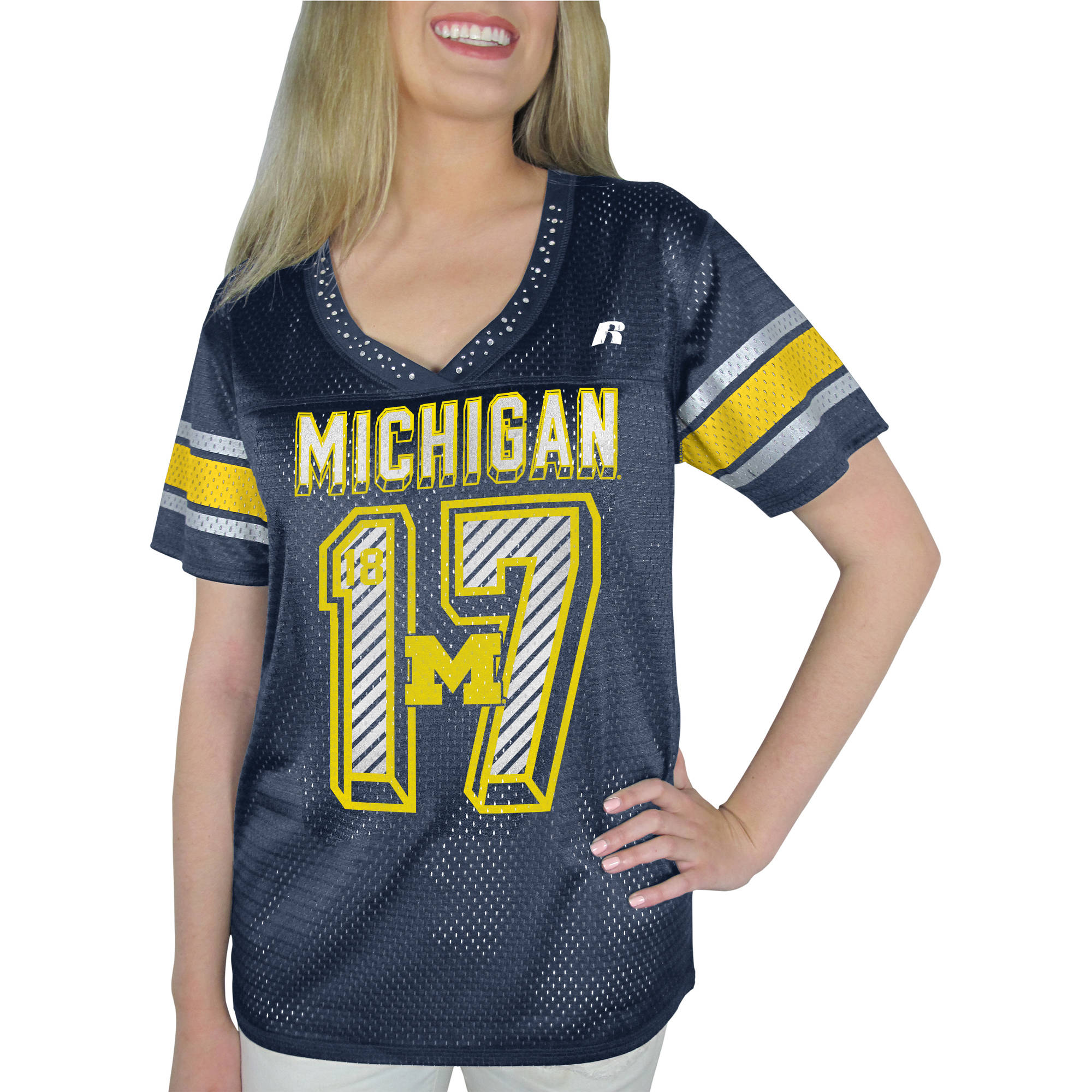 Russell NCAA Michigan Wolverines, Women's Heather V-neck Game Jersey